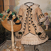 ~~~ Marvelous French Bebe Costume with Straw Bonnet ~~~