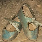 ~~~ Beautiful French Aqua Blue Manufacture Bebe Shoes size 10 ~~~