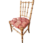 ~~~ Attic Condition French Gilded Bamboo Chair with Silk Seat ~~~
