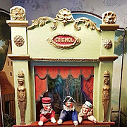 ~~~ Beautiful Antique French Guignol Doll Size Puppet Theater ~~~