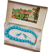 ~~~ French Factory original Blue Bebe Bead Necklace and Earrings in Box ~~~