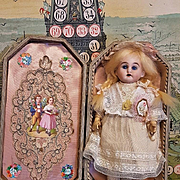 """~~~ 19th. Century 7"""" Darling Bisque Doll in Box Presentation for French Market ~~~"""