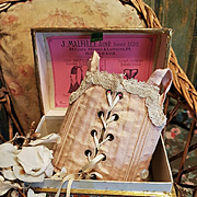 ~~~ Rare French Lingerie Presentation Box with Silk Corset ~~~