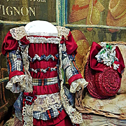 ~~~ Marvelous French Bebe Silk Costume with Antique Straw Hat ~~~
