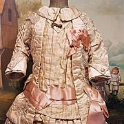 ~~~ Superb French Cream & Rose Silk Costume ~~~