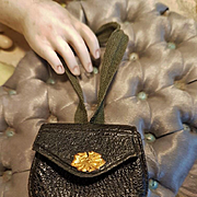 ~~~ Lovely French Leather Poupee Purse / 1865 ~~~