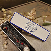 ~~~ Superb Tiny French Doll Faux - Watch & Earrings in Store Box ~~~