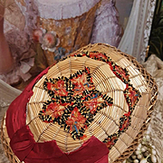 ~~~ Most Beautiful Antique French early 19th. century Bamboo Doll Bonnet ~~~