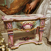 ~~~ Exquisite 19th. Century French Poupee Porcelain Table with Rococo Decoration ~~~