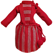 ~~~ Lovely French original Antique Jumeau Knitted Dress / size 6 ~~~