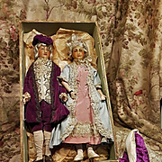 ~~~ Exceptional Rare Antique French Pair of Wax Dolls all Original ~~~