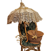 ~~~ Beautiful French Bebe Silk Parasol and Straw Basket ~~~
