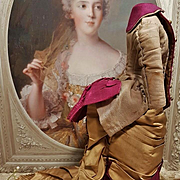 ~~~ Very fine Burgundy and Golden Silk Poupee Gown / 1875 ~~~