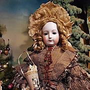 ~~~ Superb Large French Bisque Poupee with Original Silk Gown ~~~