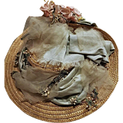 ~~~ Lovely Antique French Dolls Straw Bonnet / circa 1890 ~~~