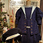 ~~~ Jumeau Factory Navy Blue Wool Sailor Costume size 12 Bebe ~~~