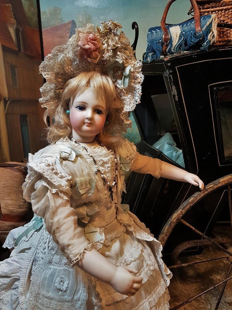 ~~~ Outstanding French Bisque Poupee by Jumeau with Rare Wood Body  ~~~