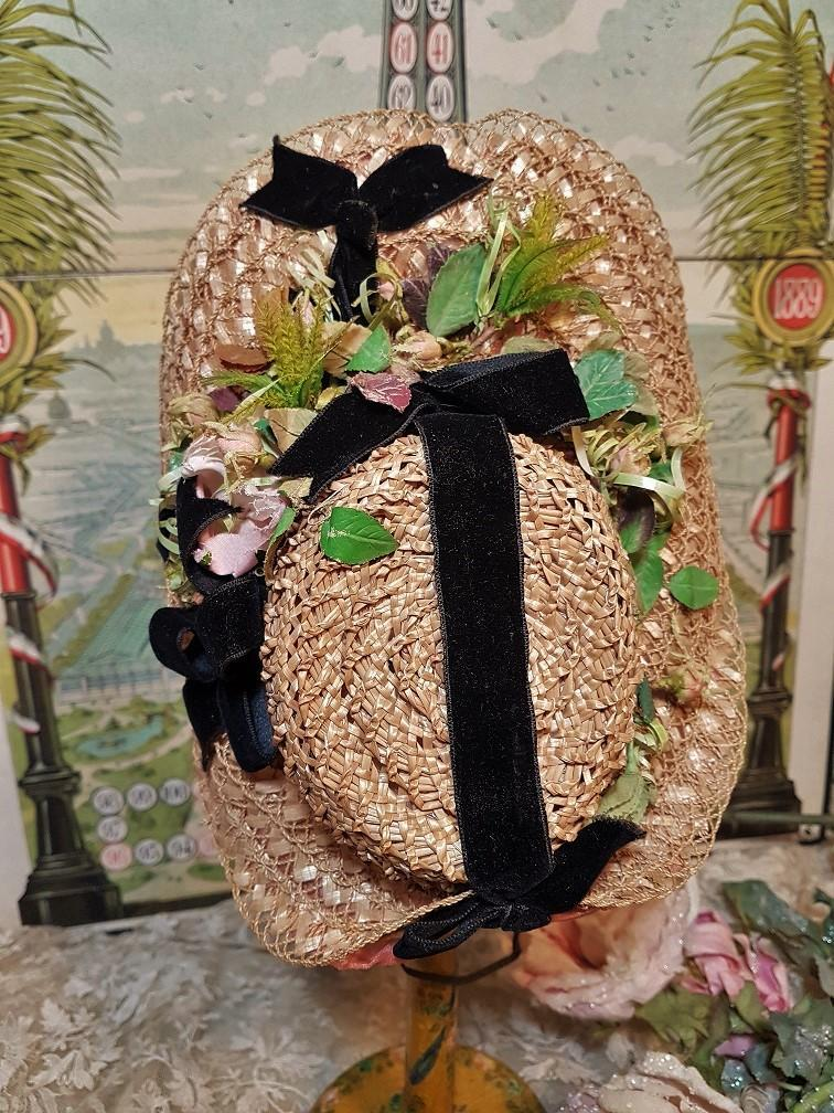 ~~~ Special Beautiful Antique Straw Bonnet / 4th quarter 19th. century ~~~