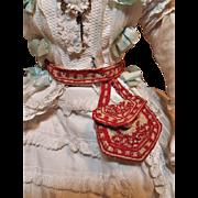 ~~~ Lovely Antique Poupee Purse on Belt / circa 1880 ~~~