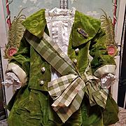 ~~~ Lovely Original Antique French Silk Velvet Bebe Costume / 19th. Century ~~~