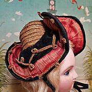 ~~~ Rare all original Antique French Doll Chapeau / Bourbonnaise ~~~