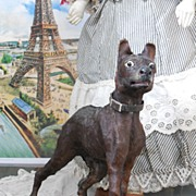 ~~~ Lovely French Miniature Toy Dog with Glass Eyes and Leather Collar ~~~