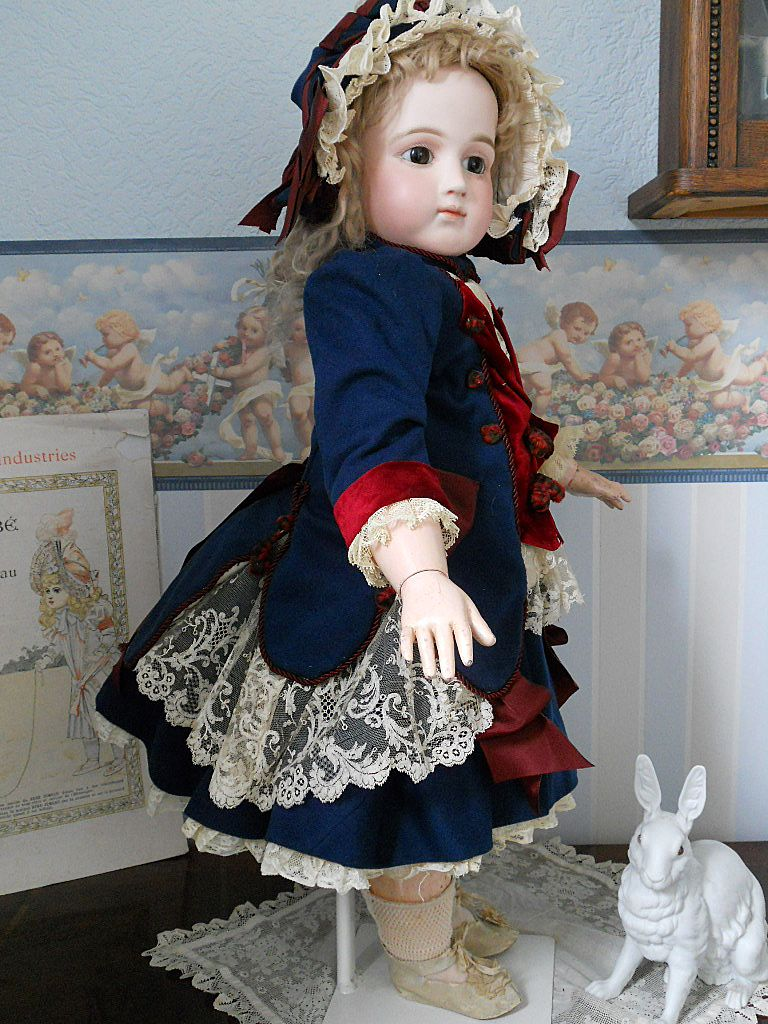 ~~~ Superb French Antique Blue & Jumeau Red Bebe Costume with Couture Bonnet ~~~