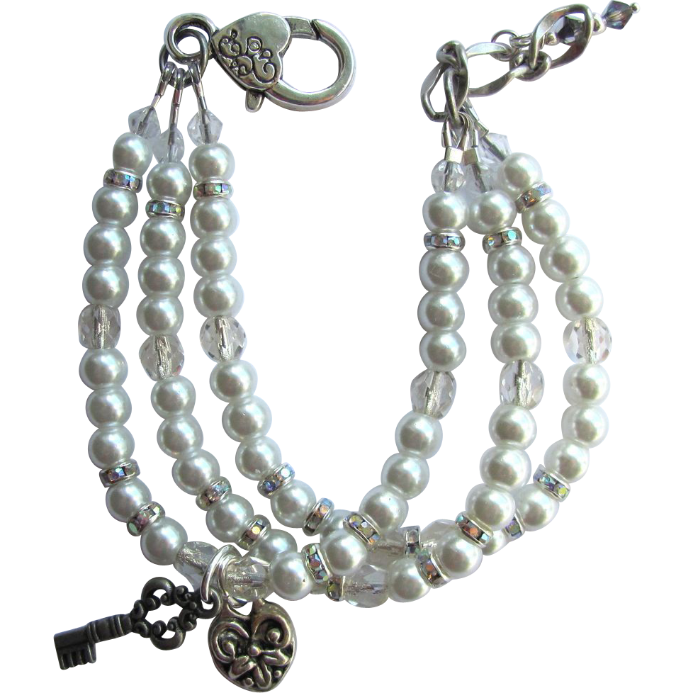 Key to My Heart Three Strand Faux Pearl Bracelet with Aurora Borealis Rhinestones
