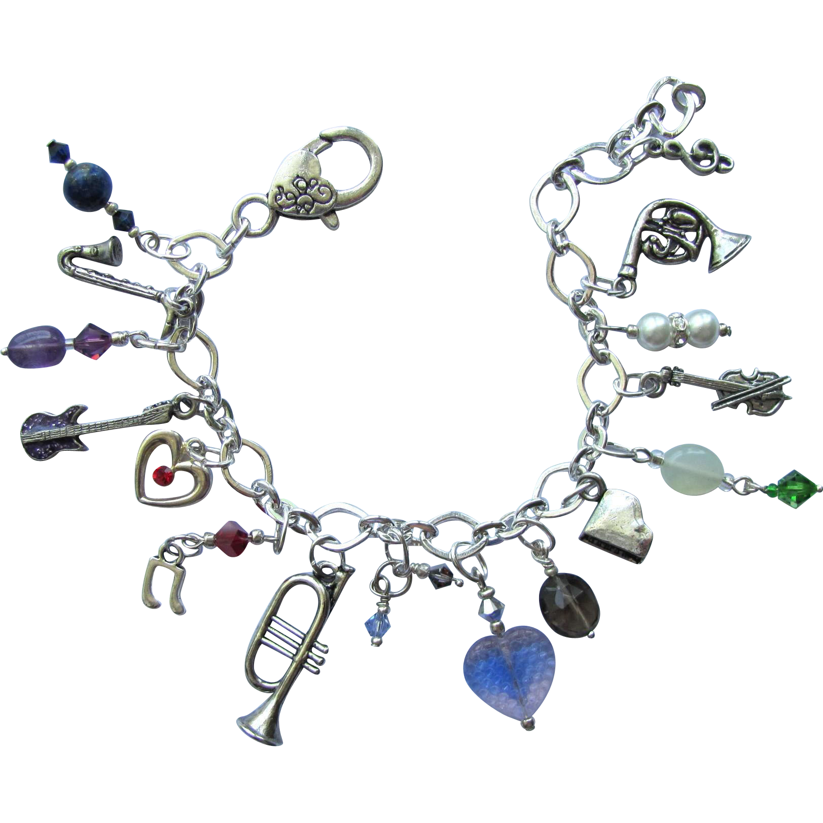 Music Charm Bracelet of Musical Instruments with Swarovski Crystals and Gemstone Accents