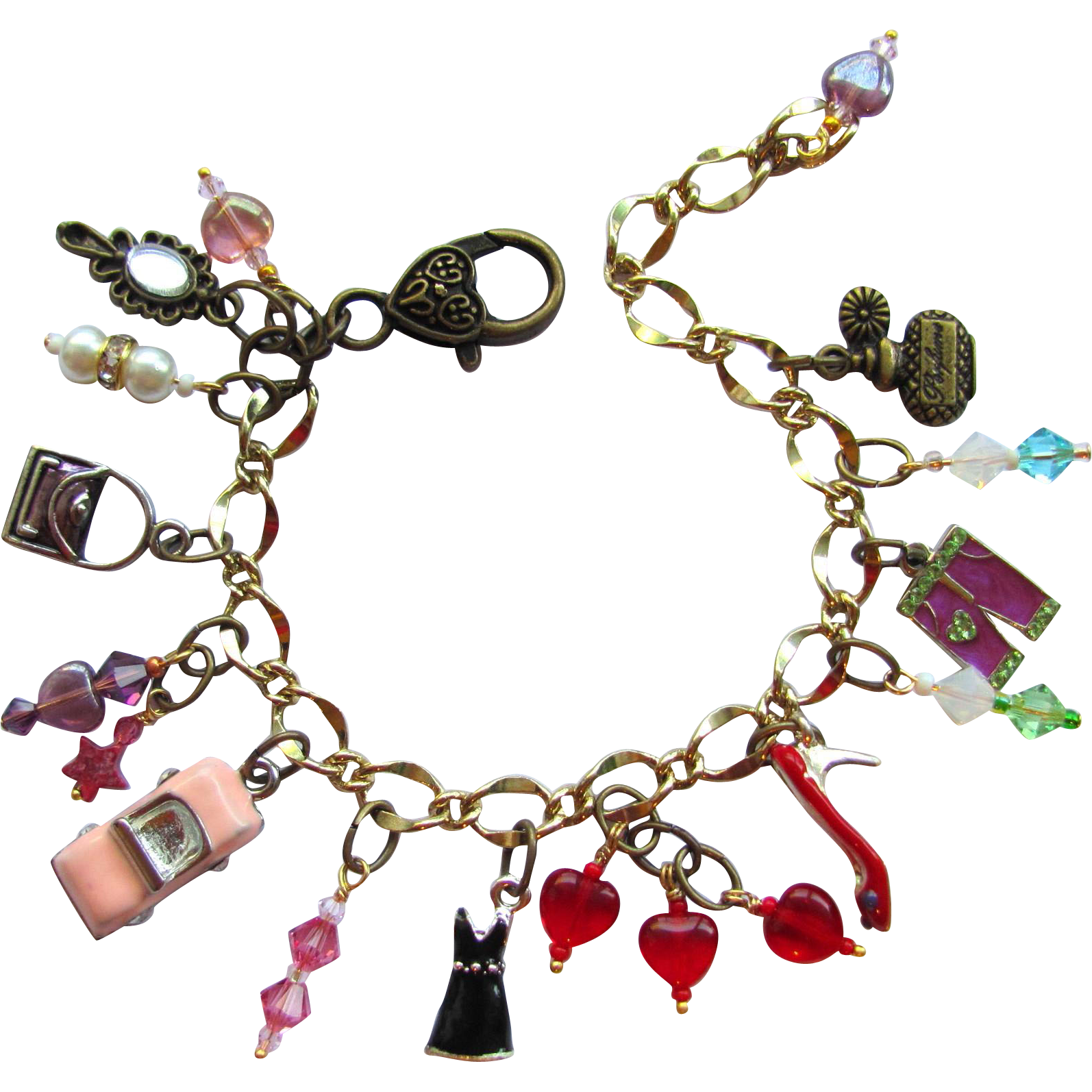 Love to shop charm bracelet with pink convertible red for Eurasia jewelry miami fl