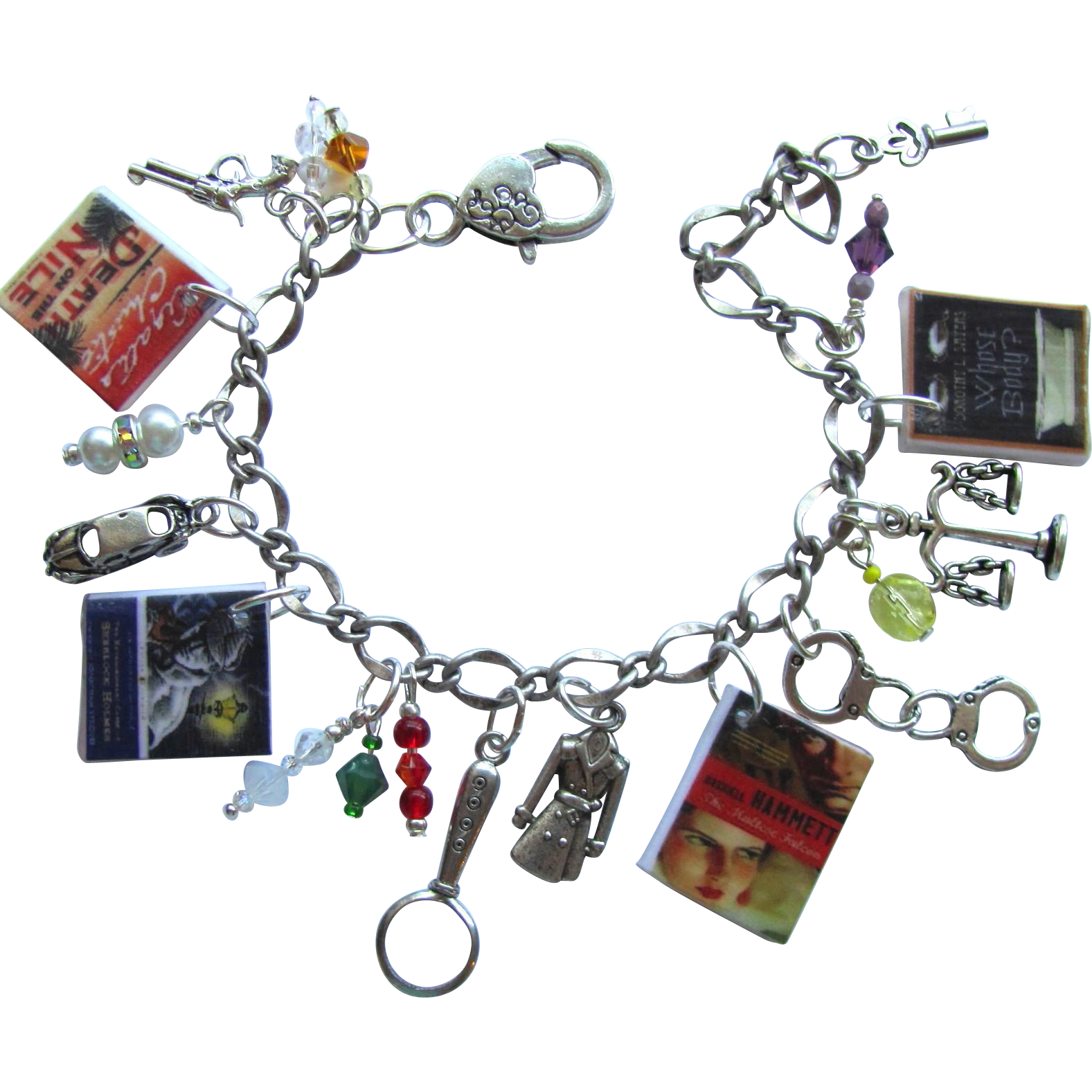 Mystery Lovers Charm Bracelet with Tiny Books – Trench Coat – Hand Cuffs – Magnifying Glass