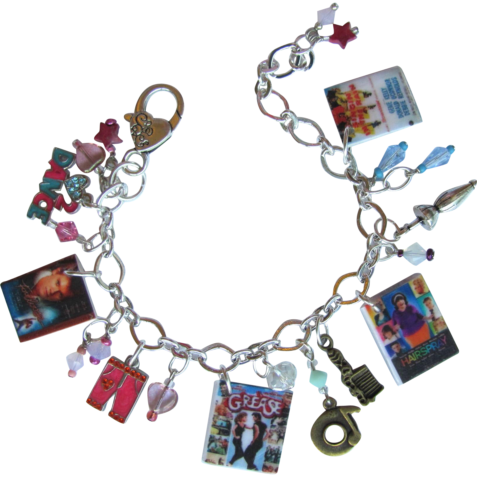 Classic Dance Movies Charm Bracelet with Unique Charms - Swarovski Crystals - Tiny DVDs - Sparkling Beads