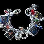 Gothic Romance Novel Charm Bracelet with Tiny Books – Hearts – Swarovski Crystals – Charms