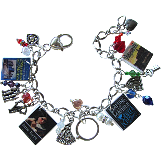 Gothic Romance Novel Charm Bracelet with Tiny Books – Hearts – Swarovski Crystals – Charms