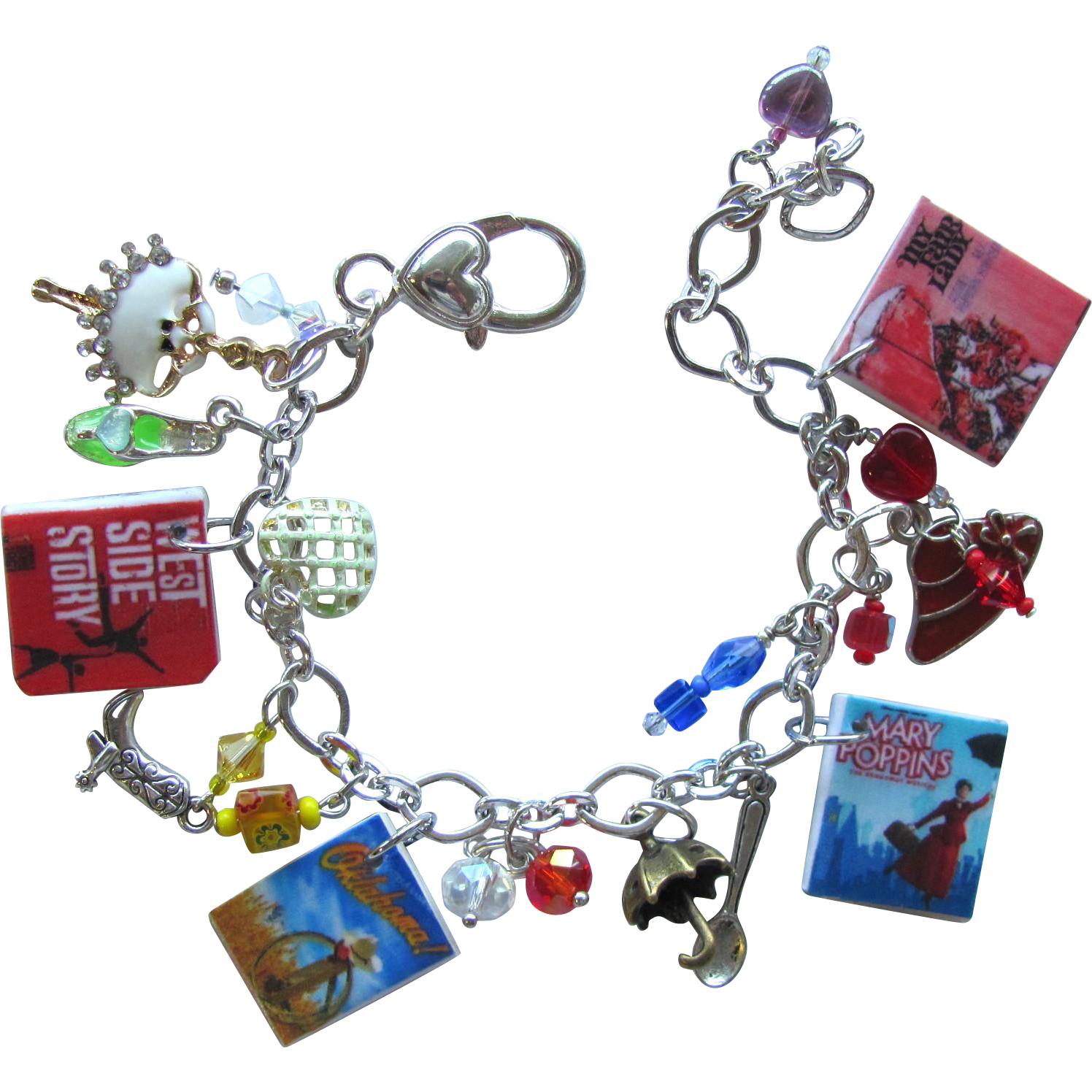 Classic Broadway Musicals Charm Bracelet with Tiny Posters – Unique Charms – Swarovski Crystals