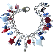 Red, White and Blue Charm Bracelet with Statue of Liberty – Stars – Hearts – Flags – Gemstones