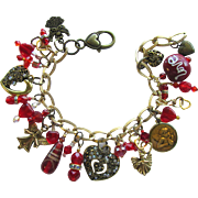 Hearts and Angels Charm Bracelet with Red Swarovski Crystals and Sparkling Hearts and Beads