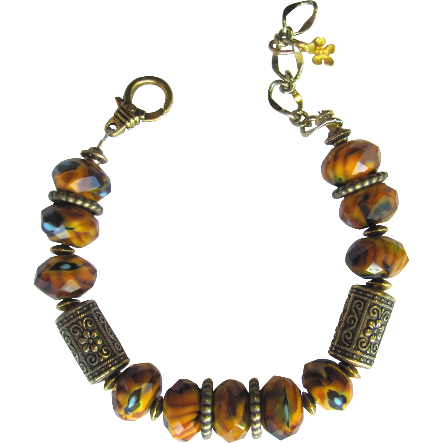 Wild Tiger Bracelet with Striped Lampwork Beads in Shades of Amber with Blue Accents