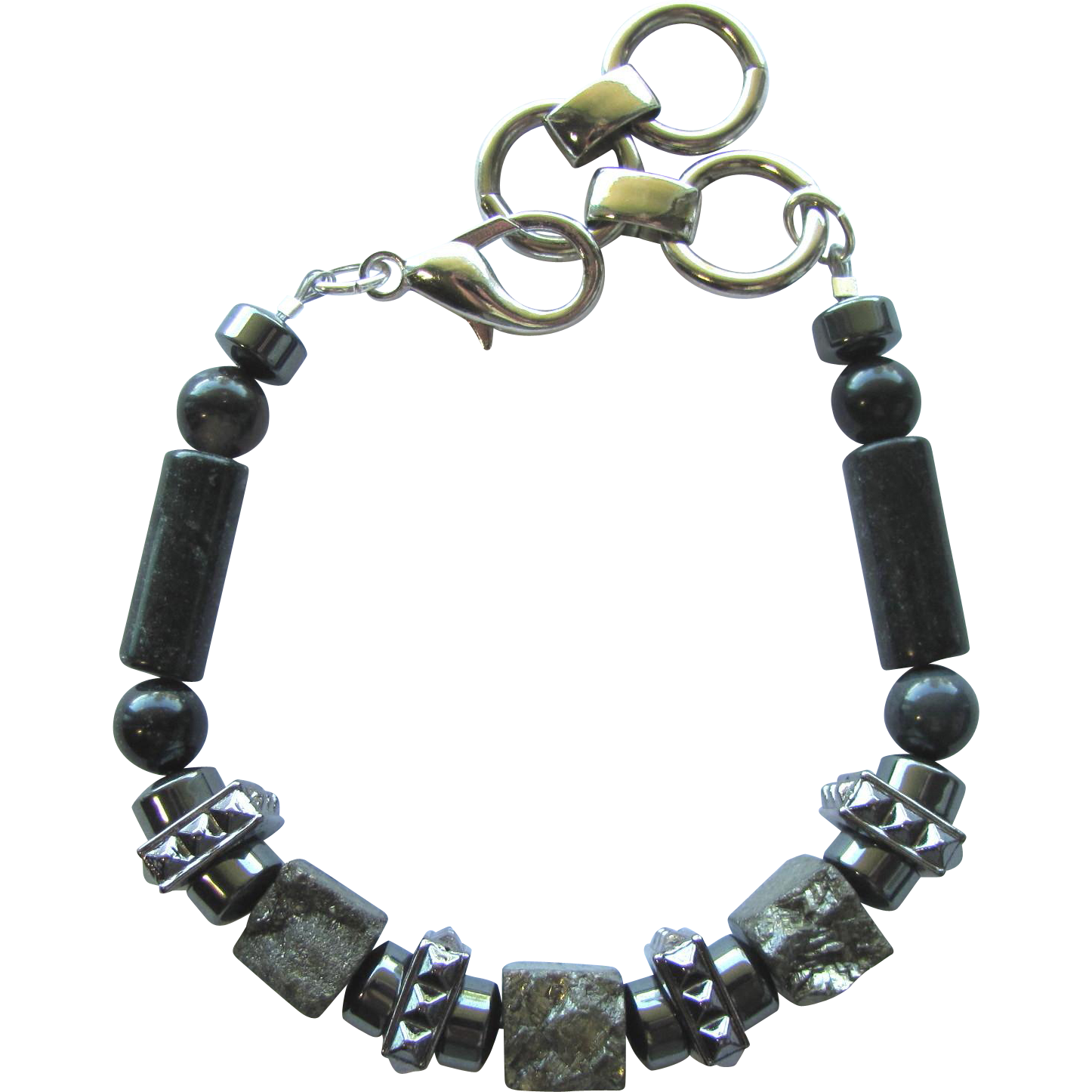 Men's Bracelet of Pyrite and Hematite with Serpentine and Gunmetal Accents