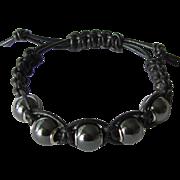 Men's Black Leather Bracelet with Hematite Beads size Large