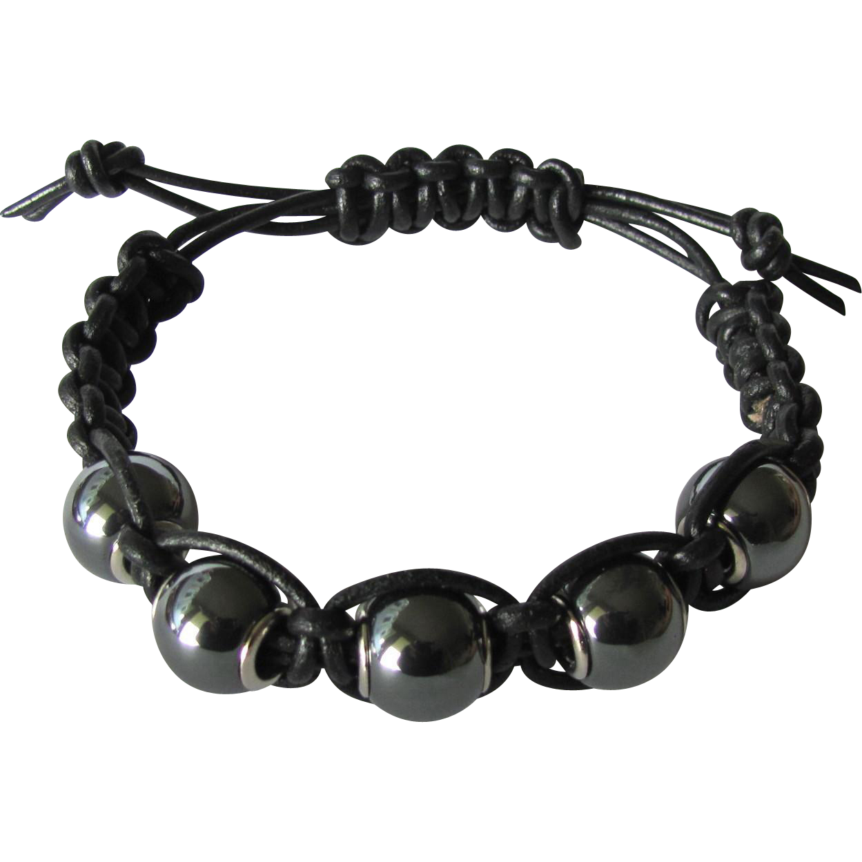Men's Black Leather Bracelet with Hematite Beads size Large