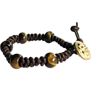 Tiger Eye Bracelet on Brown Leather in Snake Knot Pattern – Men's Size Medium