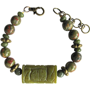 Men's Bracelet of Unakite and Serpentine in Green and Tawny Colors with Carved Focal