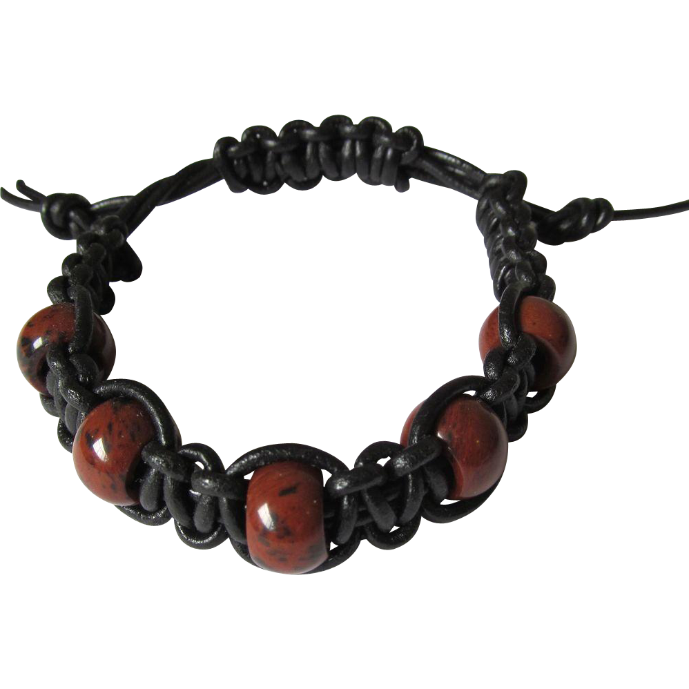 Men's Leather Shamballa Bracelet in Black with Mahogany Obsidian Beads