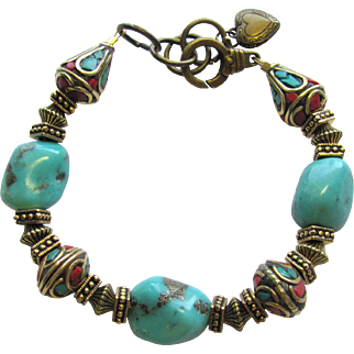Turquoise Nugget Bracelet with Tibetan Mosaic Beads and Ornate Brass Accents
