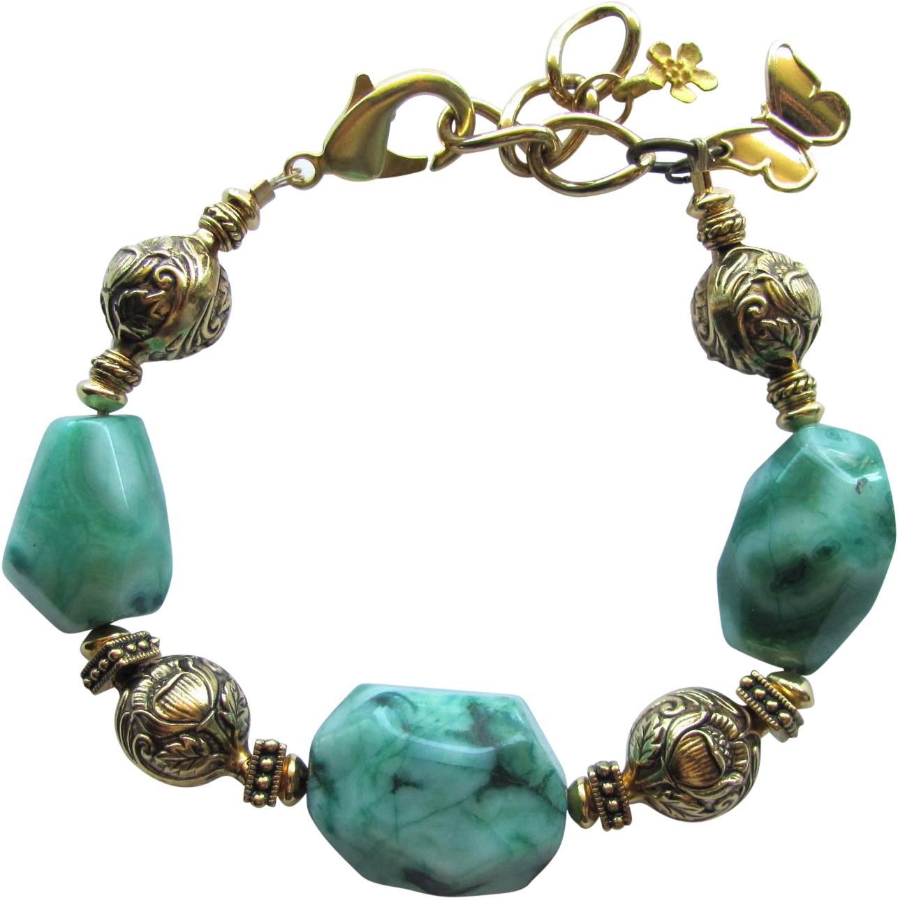 Green Crazy Lace Agate Nugget Bracelet with Detailed Flower Beads and a Butterfly