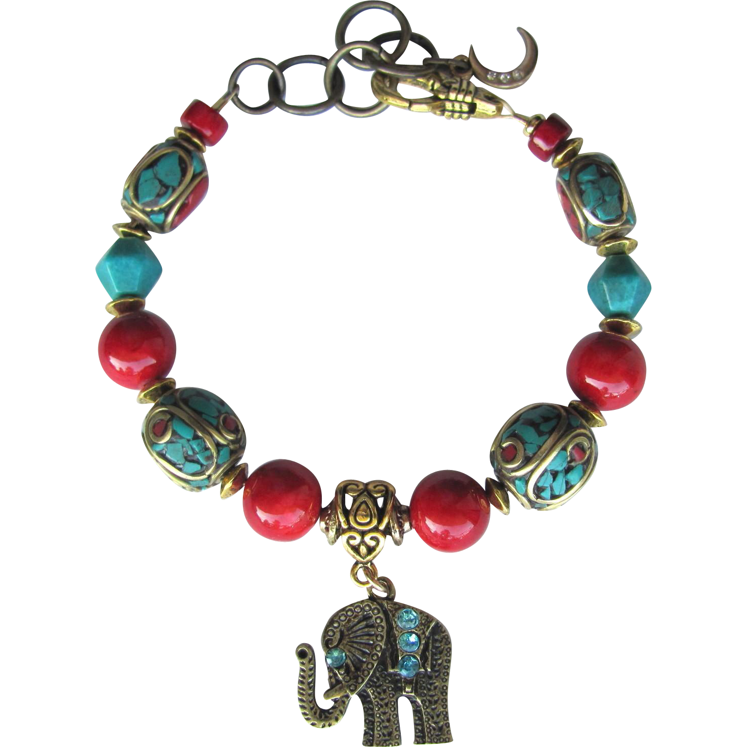Bracelet of Tibetan Mosaic and Turquoise Beads with Elephant Charm and Red Accents