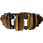 Men's Tiger Eye Bracelet with Large Tabular beads and Leather Shamballa Knots
