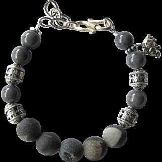 Men's Bracelet of Grey Druzy Agate Beads with Elephant Beads and Elephant Talisman