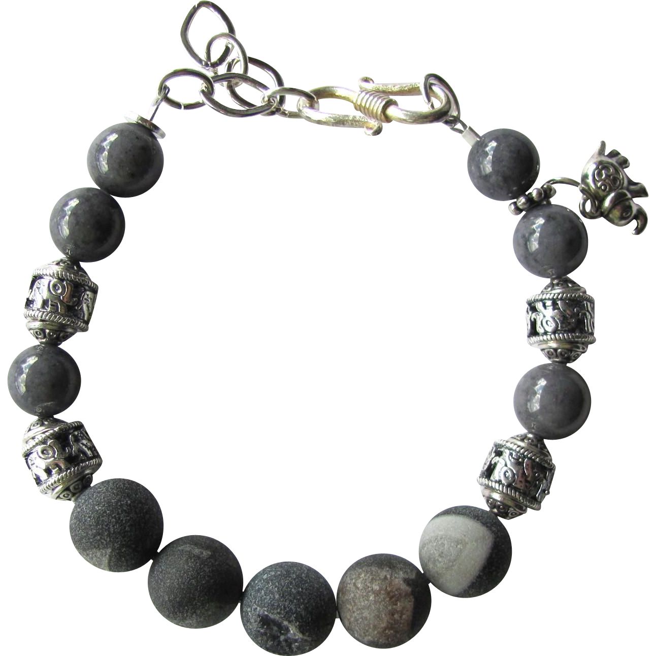 Men's Bracelet of Grey Druzy Agate Beads with Elephant Beads and Elephant Talisman